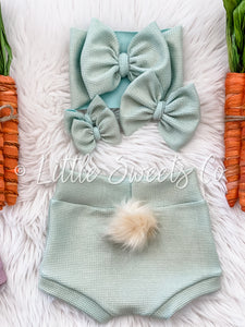 Mint Shimmer Bunny Tail High Waisted Bummies