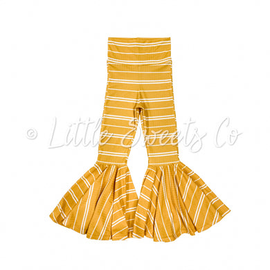 Yellow Stripe Rib Knit Bell Bottoms ONLY