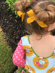 Mustard School Girl Pigtail Bow Set