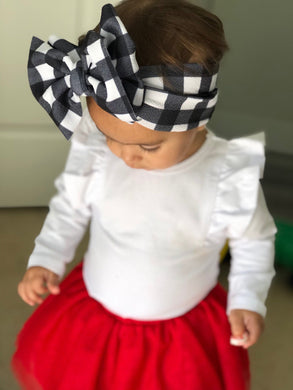 Black and White Plaid Headwrap