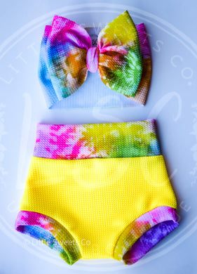 Neon Yellow Tie Dye Band High Waisted Bummies / Diaper Cover / Coming Home Outfit/ Birthday Outfit/ Smash Cake Outfit