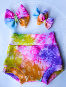 Neon Tie Dye High Waisted Bummies / Diaper Cover / Coming Home Outfit/ Birthday Outfit/ Smash Cake Outfit/ Fiesta