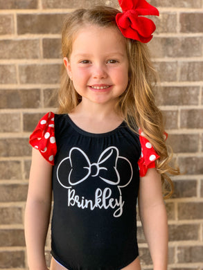 Personalized/Customized Minnie Mouse Flutter Sleeve DANCE Leotard