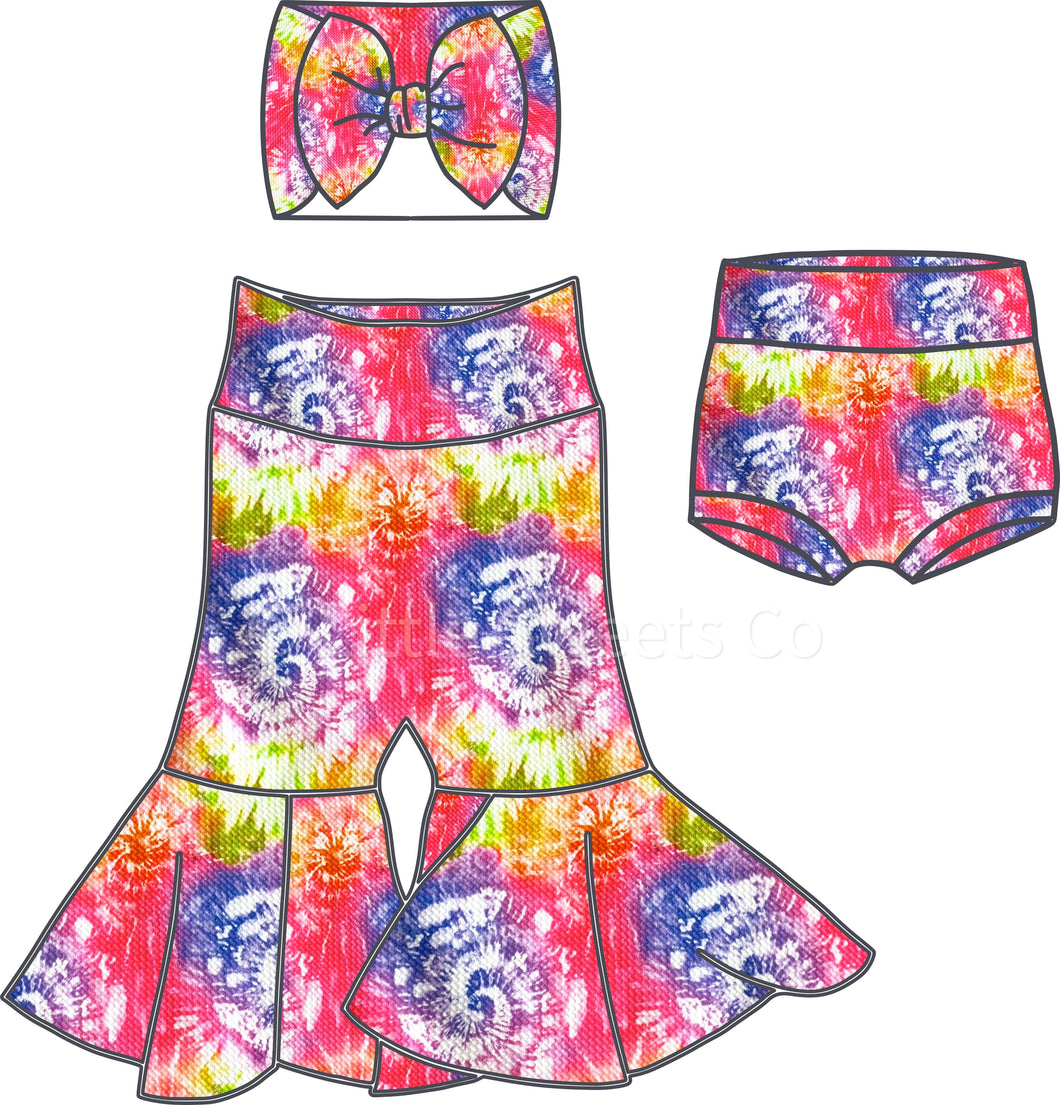 Vibrant Tie-Dye High Waisted Bummies / Diaper Cover / Coming Home Outfit/ Birthday Outfit/ Smash Cake Outfit