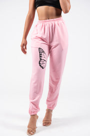 Pink butterfly sweatpants