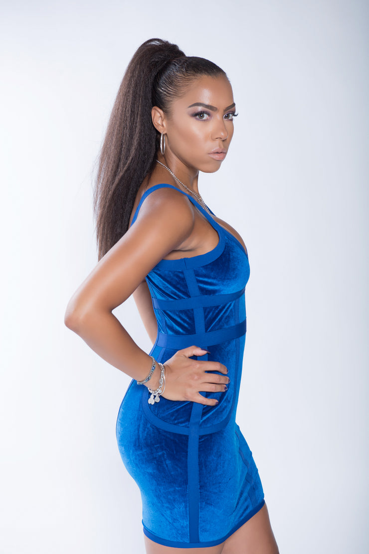 Cora Blue Velvet| Bandage Dress
