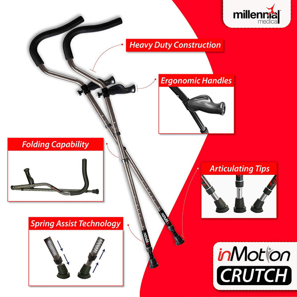 In Motion Pro Ergonomic Foldable Crutches – Fits 5'7 to 6'10 w/ Physicool Combination Pack