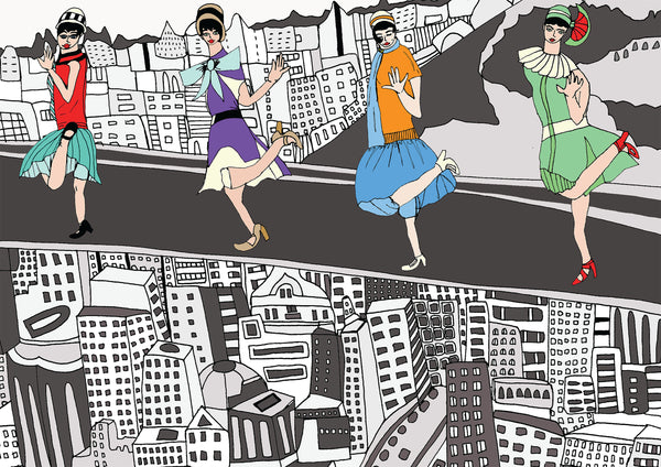 Flappers up The Empire State Building by Veronica Rowlands