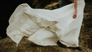 How do you keep the bottom of your wedding dress clean?
