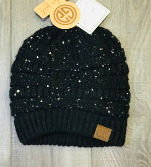 CC Beanie with Sequins/Messy Bun