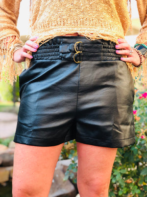 Black Pleather Shorts