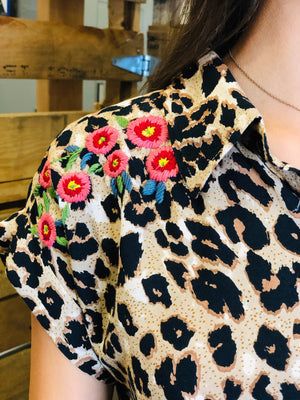 Leopard button down top w/ embroidery