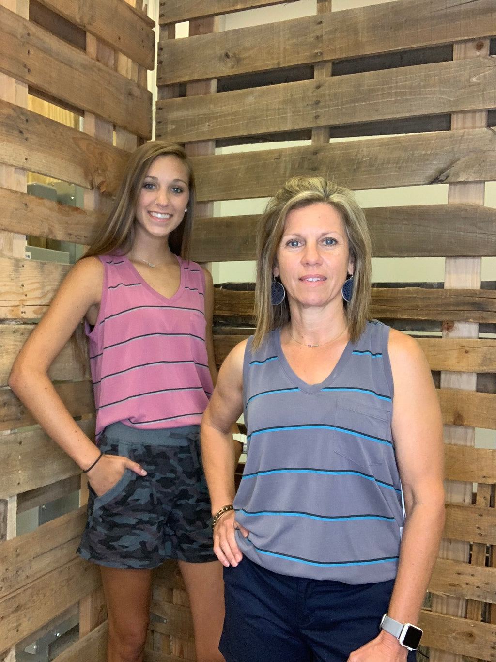 Striped V-Neck Pocket Tank