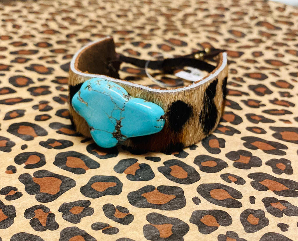Leopard and Turquoise Bracelet