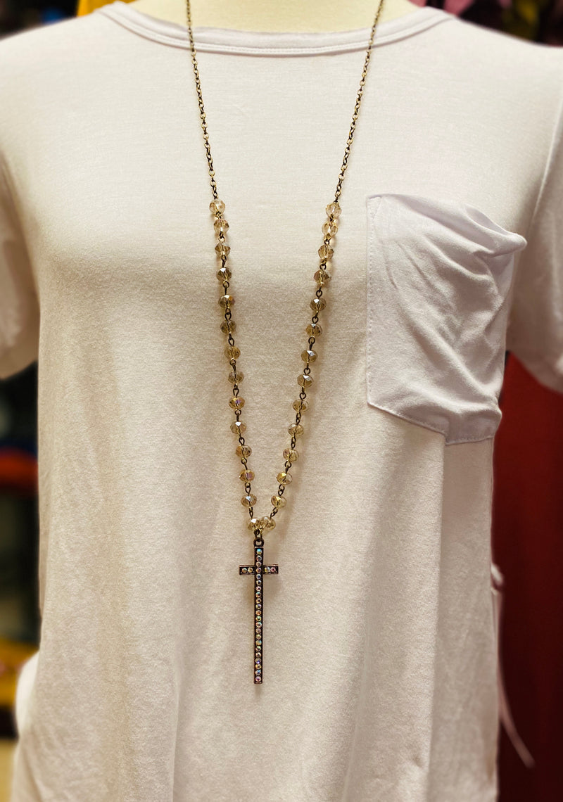 Long Beaded Cross Necklace