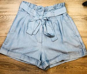 Denim paper bag waistband shorts