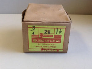 3/4 X 1-1/2 Hexagonal Head Cap Screw GR 8, Box Of 25 NOS