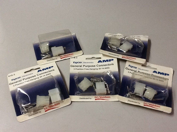 Tyco 618-3 3 Position Free-Hanging 20-14 AWG Connectors[LOT OF 5]NOS