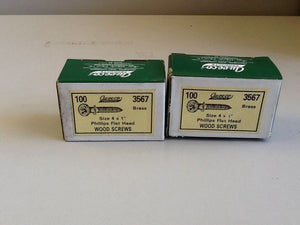 "Auveco 4 X 1"" Phillips Flat Head Brass Wood Screw [200 IN LOT] NOS"