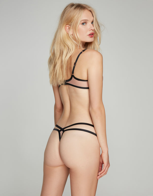 Joan pink/black thong