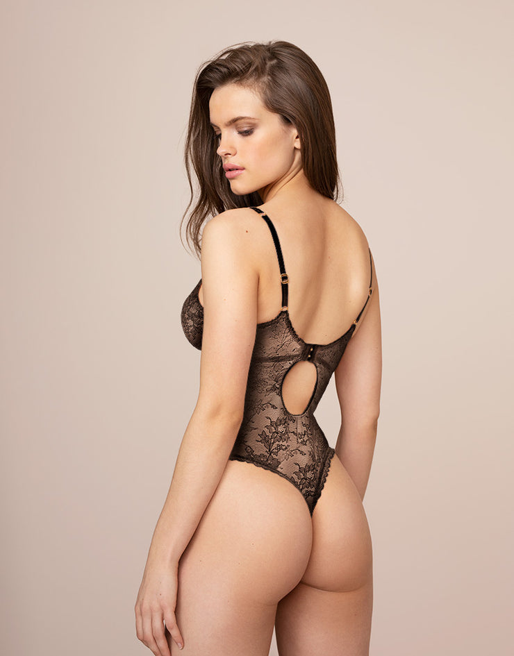 Black lace thong style bodysuit Hinda from Agent Provocateur