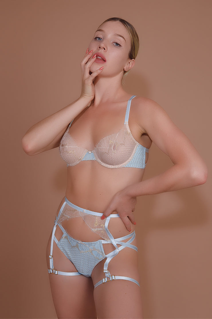 ELF ZHOU blue lingerie lace and leather (bridal lingerie)