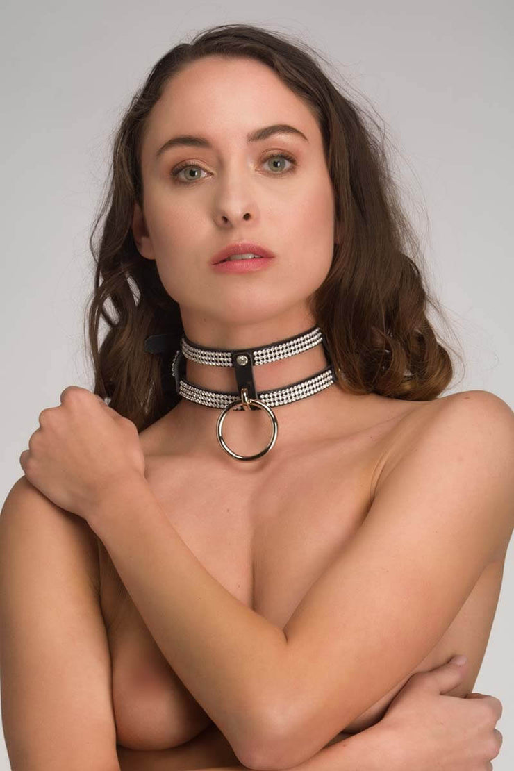 Leather and Diamonds collar