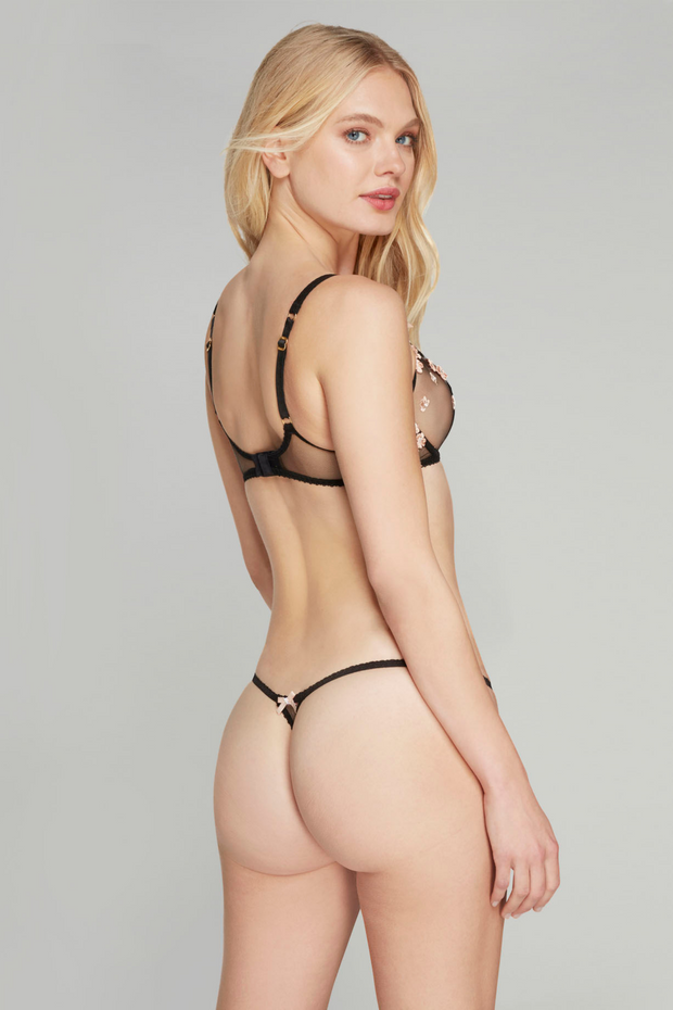 Bethanie black/peach thong