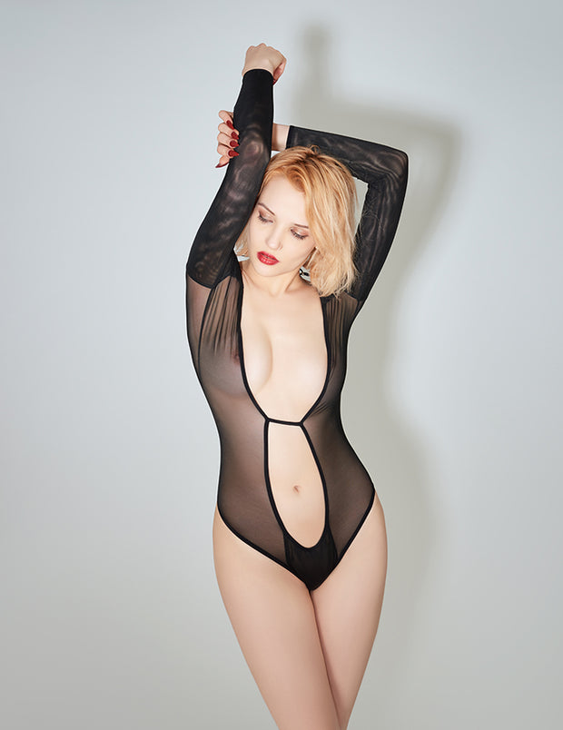 E.L.F. Zhou lace up black mesh bodysuit