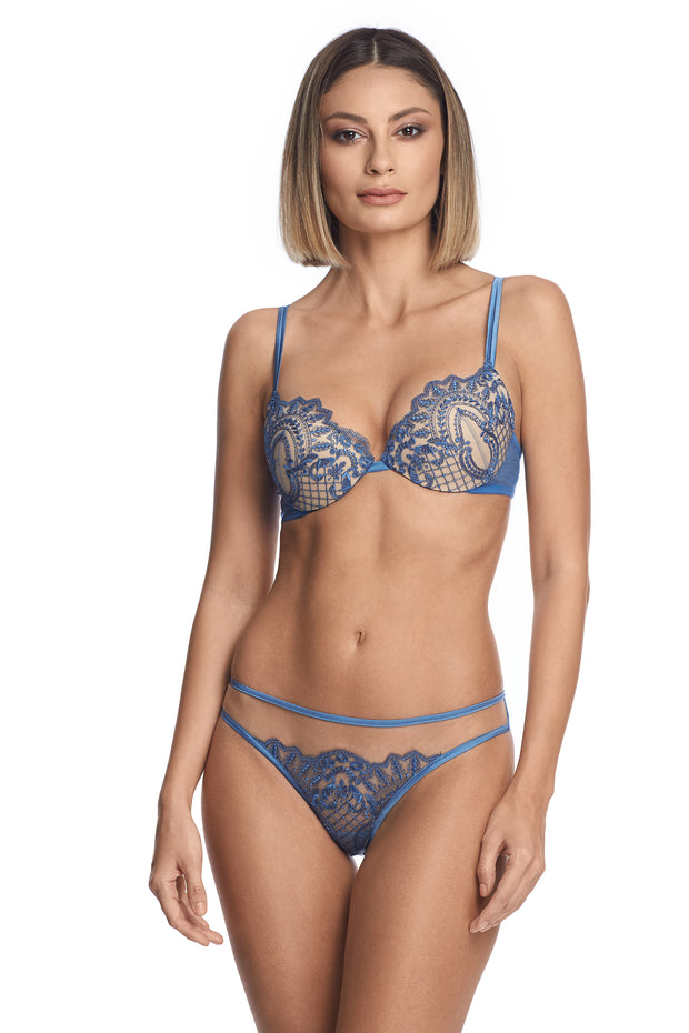 I.D. Sarrieri lace lingerie in cornflower blue