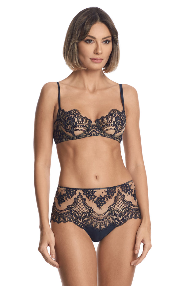 Lace high waist brief in navy by I.D. Sarrieri