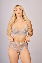 Evening Goddess Longline Bra in French Silver