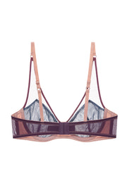 Powder pink layered mesh bra