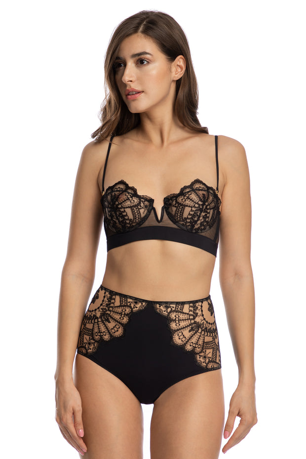 Rose Noir Half Cup Bra With Removeable Straps