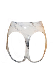 Marble Latex Cheekless brief (in black or white)