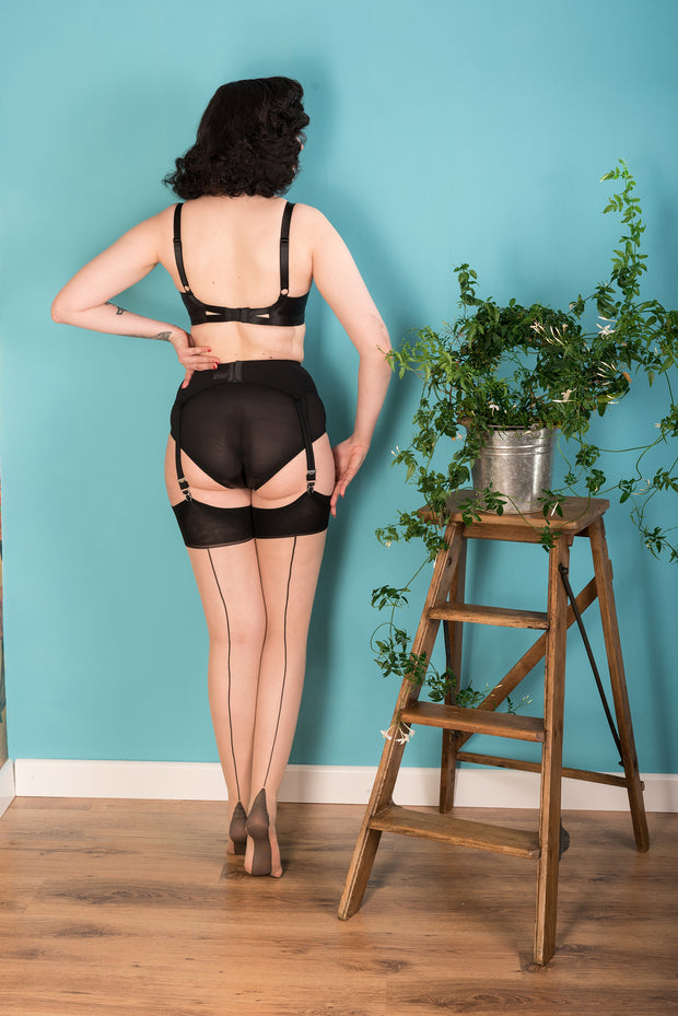 What Katie did Black seamed stockings