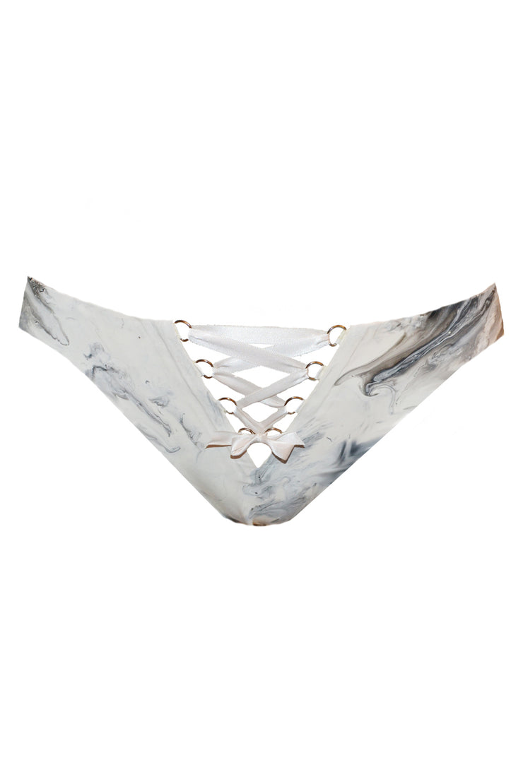 Marble latex lace up brief (in black or white)
