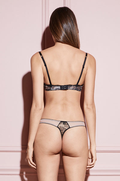 Rose Lace thong in black and nude