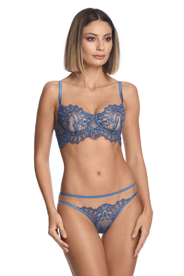 I.D. Sarrieri blue lace lingerie set Midnight Affair