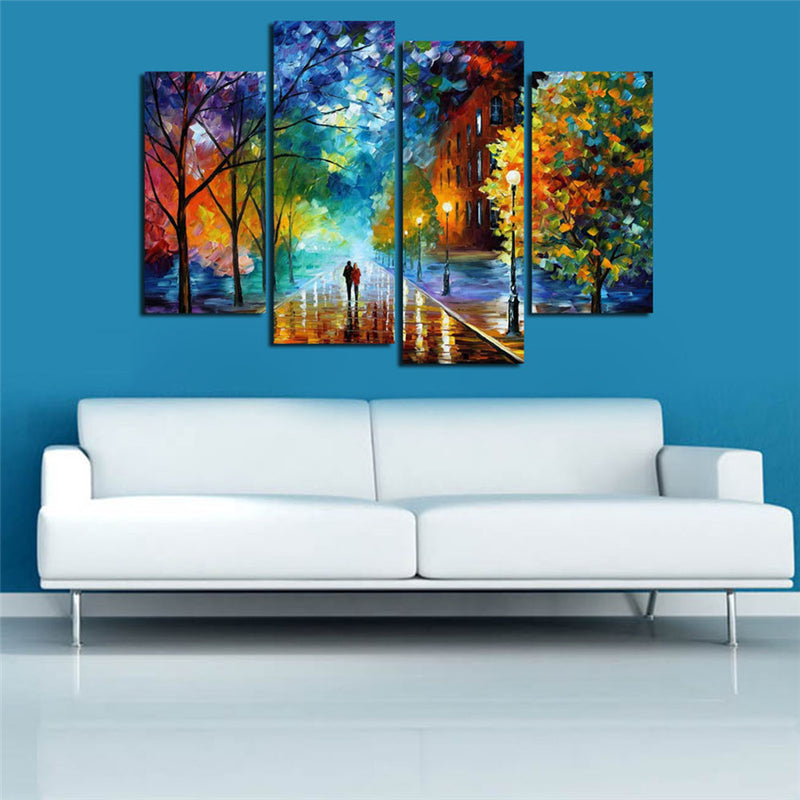 Decoracion Walking In The Quiet Street Canvas Printings 4Pcs Wall Painting Modern Arts
