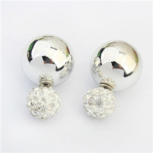 Jewelry Gold Silver Plated Two Side Double Ball Pearls Stud Earrings For Women