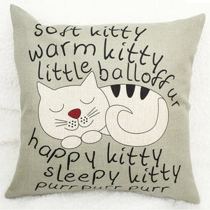 Vintage Decorative Home Cotton Linen Pillow Case Bed Chair Seat Waist Lovely Cat Pillowcases