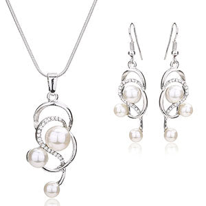 Pearl Fine African Beads Jewelry Sets For Women Pendant Crystal Necklace Earrings