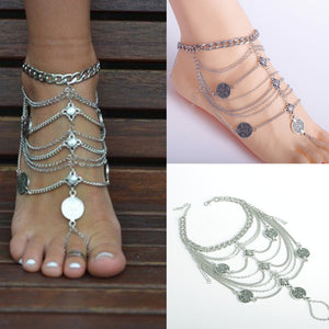 Antique Silver Anklet Fashion Coin Tassel Leg Bracelet For Women Ankle Chain Foot Chain Anklets