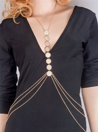 Hot Charming Tassel Body Chain Carving Flower Crossover Necklace Body Jewelry