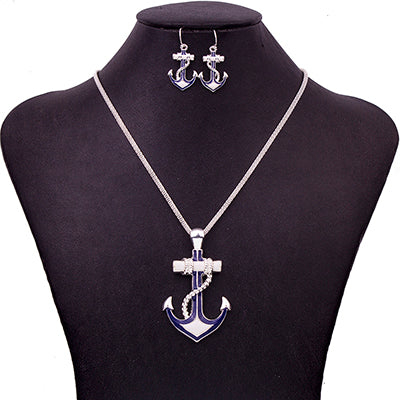 Fashion Jewelry Sets High Quality Necklace Sets Jewelry Silver Plated Antique Unique Anchor Design