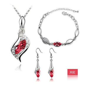 Elegant Luxury Design New Fashion A Gold Filled Colorful Austrian Crystal Drop Jewelry Set