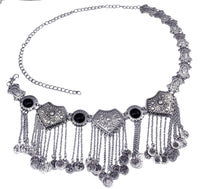 2 Colors Fashion Retro Silver Body Belts Waist Chain Inlay Bead Coin Tassel Pendant Women Jewelry