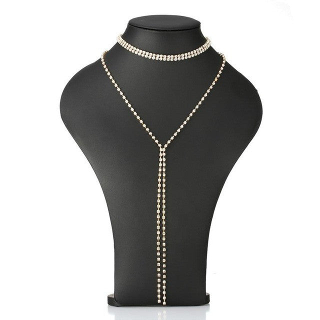 Women Tassel Multilayer Crystal Necklace Elegant Chain Jewelry Long Neckline Necklace 37+47CM