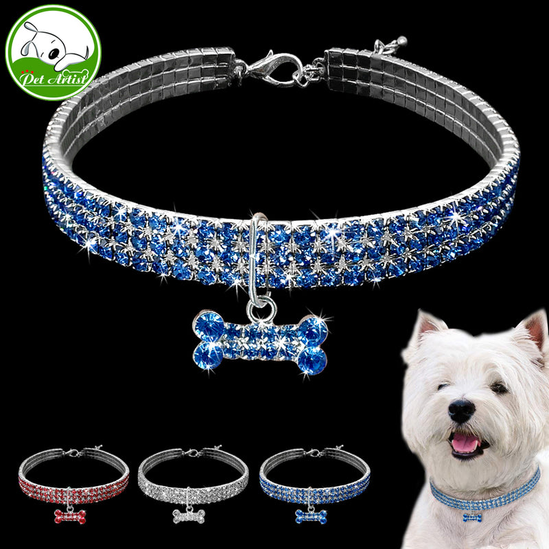 Rhinestone Puppy Dog Collars Jeweled Crystal Kitten Cat Necklace Bone Charm Pendant Accessory